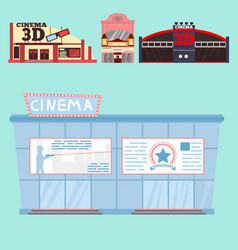 Cinema building facade movie vector