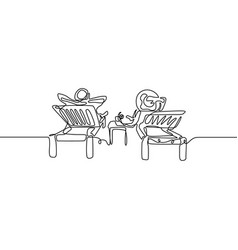 continuous line love couple relax on deckchair vector image
