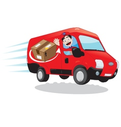 Courier driving a delivery van vector