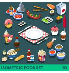 Diet Set 10 Food Isometric vector