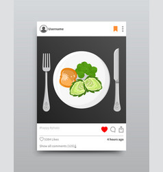 dish posted on instagram vector image