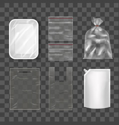 Disposable plastic bag package set on transparent vector