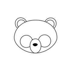 dotted shape panda head wild cute animal vector image
