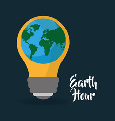 earth hour globe with bulb energy ecology vector image
