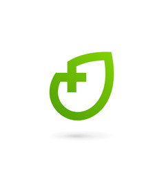 Eco leaves cross plus medical logo icon design vector