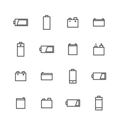 elements of power and battery icons of thin lines vector image