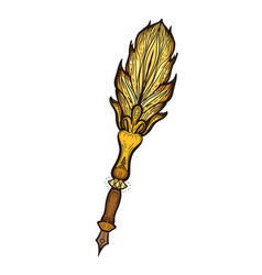 Feather fountain pen colored sketch style vector