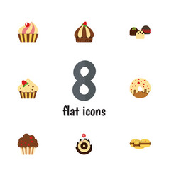 Flat cake set of cake muffin cupcake and other vector