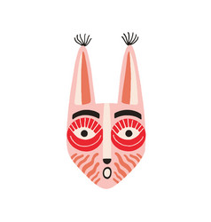 funny ethnic indian tribal mask with long ears and vector image