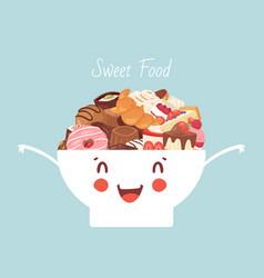 funny kawaii bowl with sweet food and desserts vector image