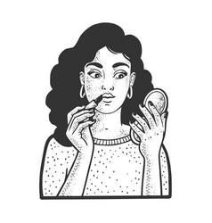 girl puts makeup sketch vector image