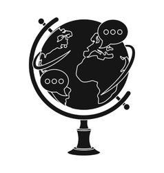 Globe of various languages icon in black style vector image
