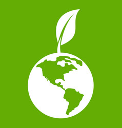 green world qlobe with leaf icon green vector image