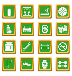 Gym icons set green vector