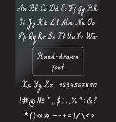 hand drawn chalk alphabet with numbers vector image