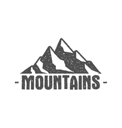 Hand drawn mountain badge Wilderness old style vector