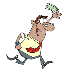 Hispanic Businessman Running And Holding Up Cash vector image