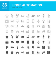 home automation line web glyph icons vector image