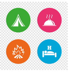 hot food sleep camping tent and fire signs vector image