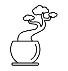 house tree pot icon outline style vector image