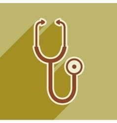 Icon of medical stethoscope in flat style vector