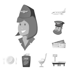 isolated object of airport and airplane sign set vector image