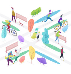 isomeric people outdoor activity in public park vector image
