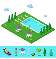 Isometric swimming pool summer people vector