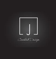 J square frame letter logo design with black and vector