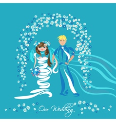 Just married couple and floral arch vector image