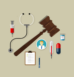 Law wooden hammer gavel justice legal authority vector