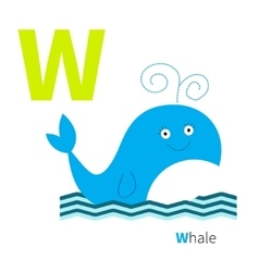 letter w whale zoo alphabet english abc vector image