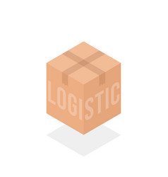 Logistic box simple isometric logo vector