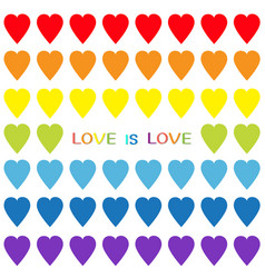 love is love rainbow heart set seamless pattern vector image