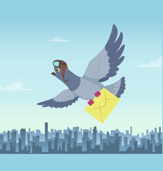 Mailing service with flying pigeons air delivery vector