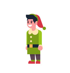 man elf santa claus helper merry christmas holiday vector image
