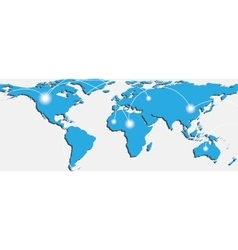 Map of world with trading paths and points vector