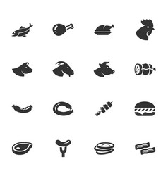 Meat and protein icons set vector