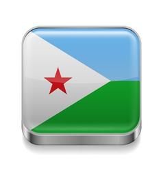 Metal icon of Djibouti vector