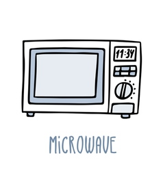 Microwave oven Cute doodle sketch isolated on vector image