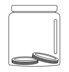 money in jar icon outline style vector image
