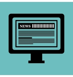 Monitor pc news paper graphic isolated vector