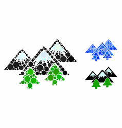 mountains forest mosaic icon round dots vector image