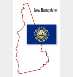 new hampshire state map and flag vector image