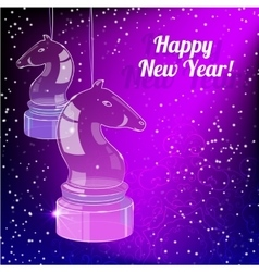 New Year Card year with glass horse on purple back vector