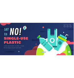 No single use plastic banner layout vector