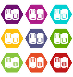 old open magic book icons set 9 vector image