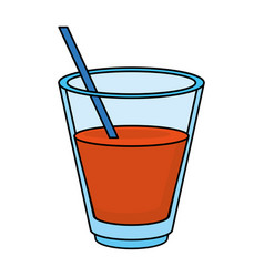 Orange juice glass vector