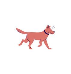 Pet brown dog semi flat rgb color vector