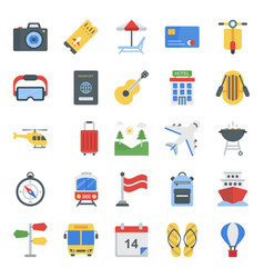 Picnic flat icons pack vector